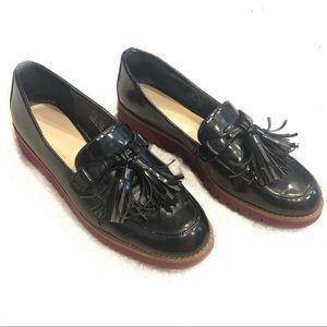 Zara Platform Oxfords Creepers Black Maroon Patent